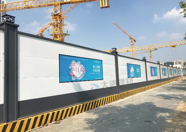 深圳钢结构围挡A型-宝安国际艺展中心施工围挡项目案例