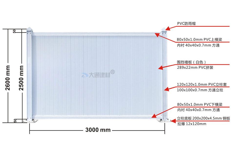 市政标准PVC围挡 3x2.5m