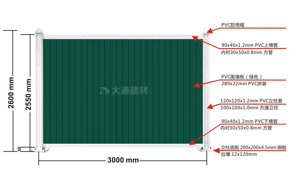 工地施工PVC围挡绿色 3mx2.5m